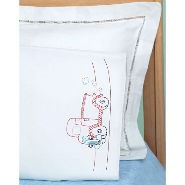 Jack Dempsey Children's Stamped Pillowcase W/White Perle Edge