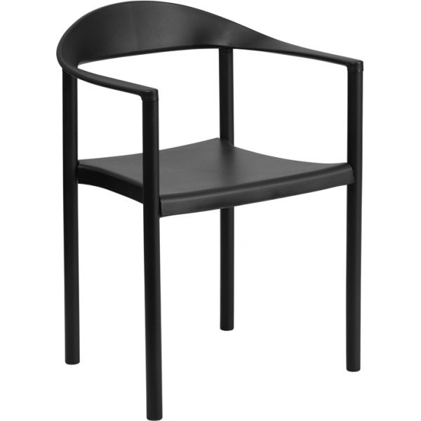 Flash Furniture HERCULES Series 1000 lb. Capacity Black Plastic Cafe Stack Chair