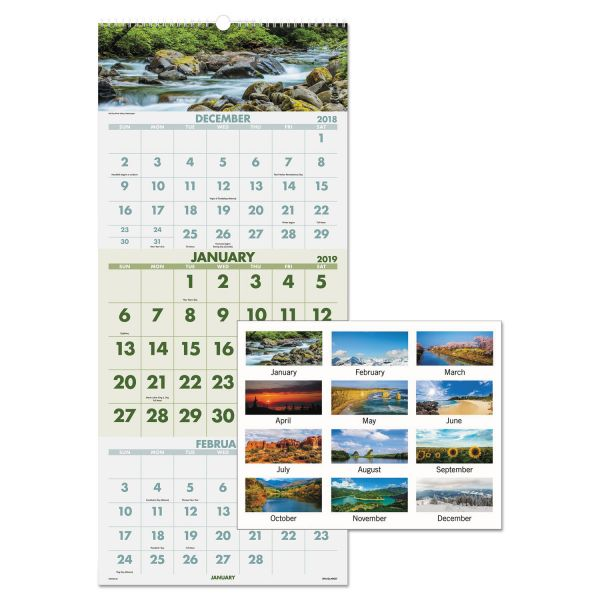 AT-A-GLANCE Scenic Three-Month Wall Calendar, 12 x 27, 2019