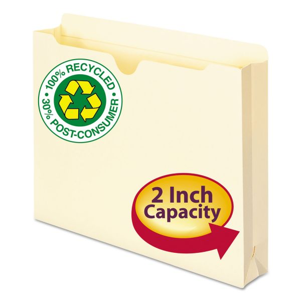 "Smead 100% Recycled Top Tab File Jackets, Letter, 2"" Exp, Manila, 50/Box"