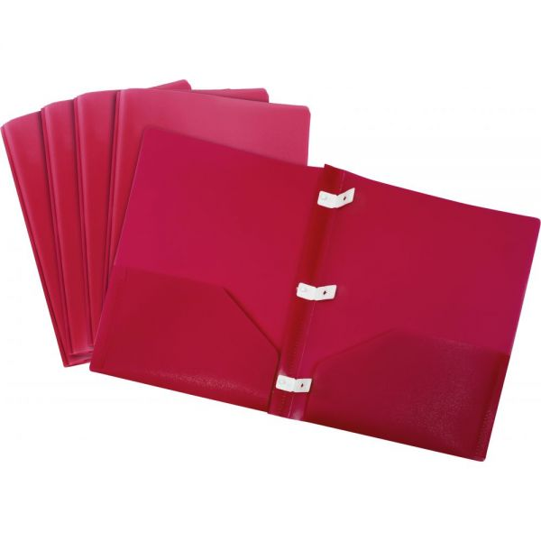 Storex Thicker Poly Red Two Pocket Folders with Plastic Prongs