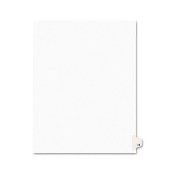 Avery Avery-Style Legal Exhibit Side Tab Divider, Title: 25, Letter, White, 25/Pack