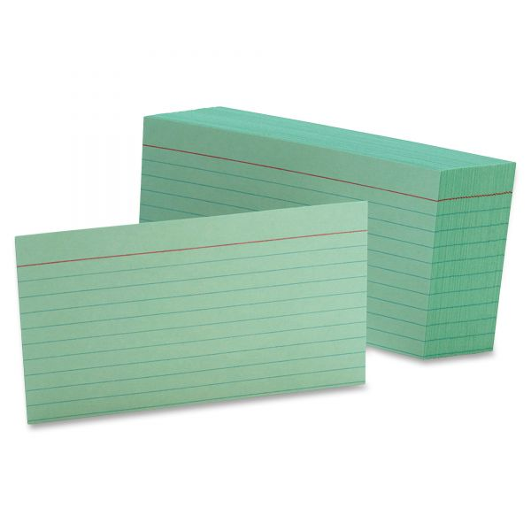 Oxford Ruled Index Cards, 3 x 5, Green, 100/Pack