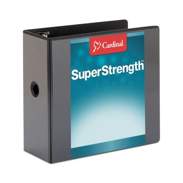 "Cardinal SuperStrength ClearVue Locking 3-Ring View Binder, 5"" Capacity, Slant-D Ring, Black"