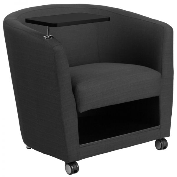 Flash Furniture Gray Fabric Guest Chair with Tablet Arm