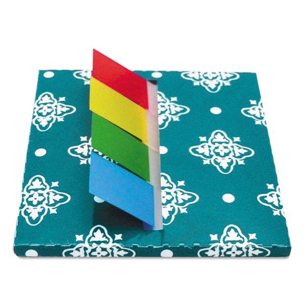 Redi-Tag Teal Designer Pop-Up Flag Dispenser, 4 Pads of 35 Flags Each