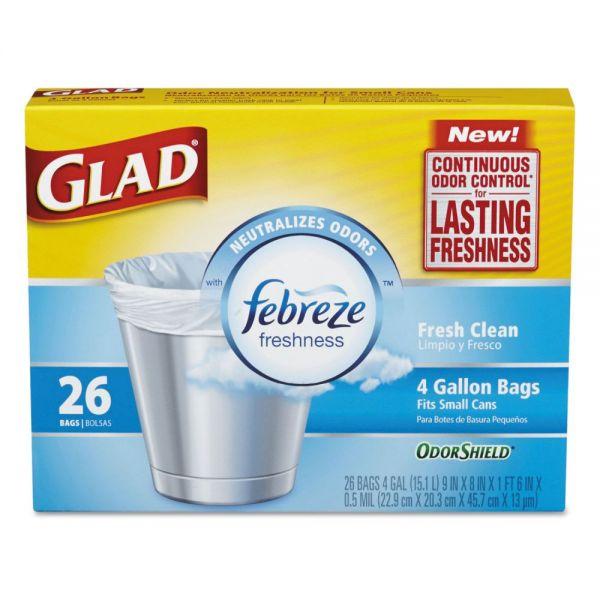 Glad OdorShield Small Trash Bags, 8 x 9 x 18, 0.5mil, White, 26/Box, 6 Boxes/Carton