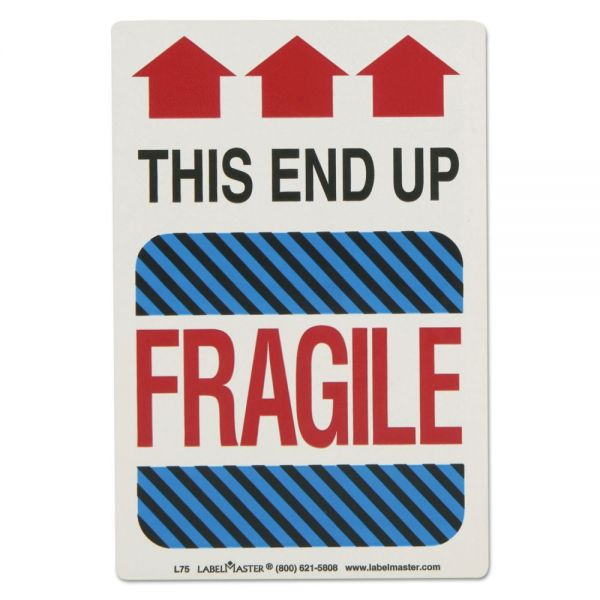 LabelMaster Shipping Self-Adhesive Label, 5 7/8 x 4 1/4, THIS END UP, FRAGILE, 500/Roll