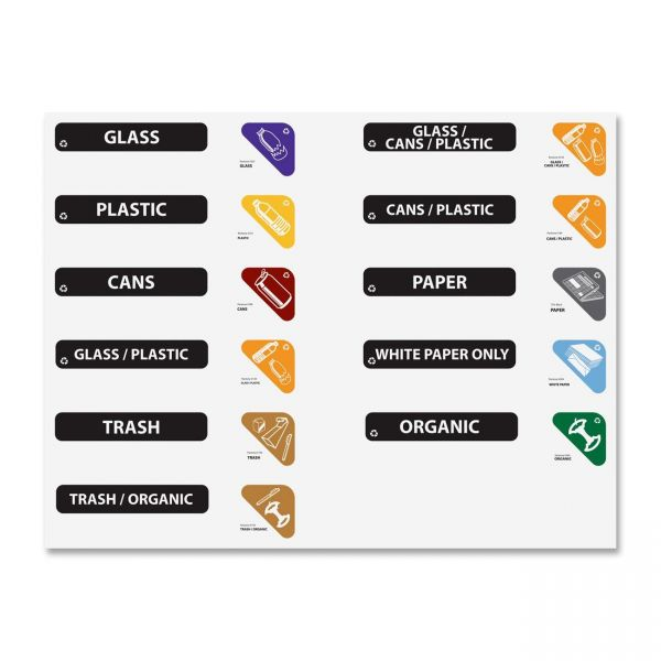Rubbermaid Glutton Recycling Station Label Kit