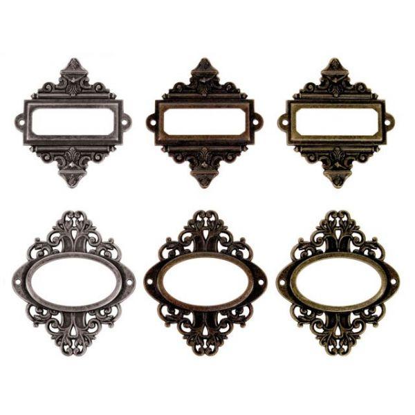 "Idea-Ology Ornate Plates W/Fasteners 2.25""X2.5"" 6/Pkg"