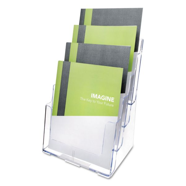 deflecto Multi Compartment DocuHolder, Four Compartments, 9 3/8w x 7d x 13 5/8h, Clear