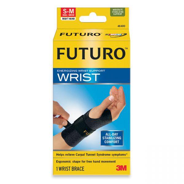 "FUTURO Energizing Wrist Support, S/M, Fits Right Wrists 5 1/2""- 6 3/4"", Black"