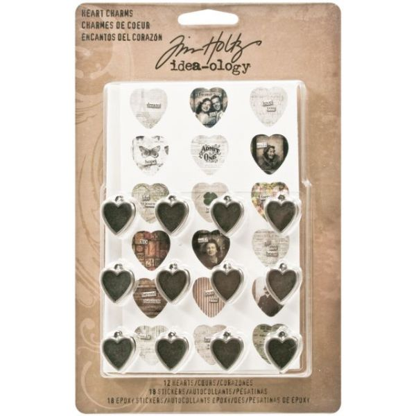 "Idea-Ology Heart Charms .5""X.75"" 12/Pkg"