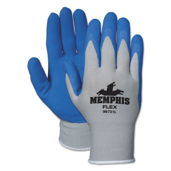 MCR Safety Memphis Flex Seamless Nylon Knit Gloves, Small, Blue/Gray, Dozen