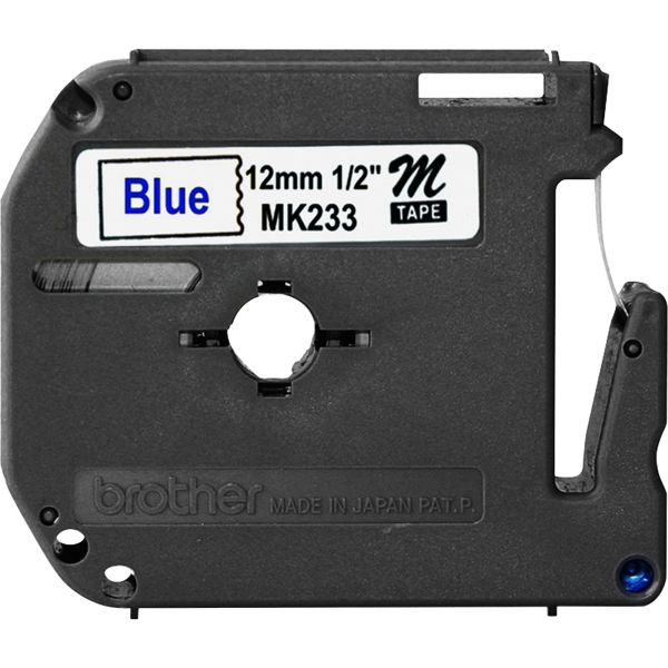 """Brother P-Touch M Series Tape Cartridge for P-Touch Labelers, 1/2""""w, Blue on White"""