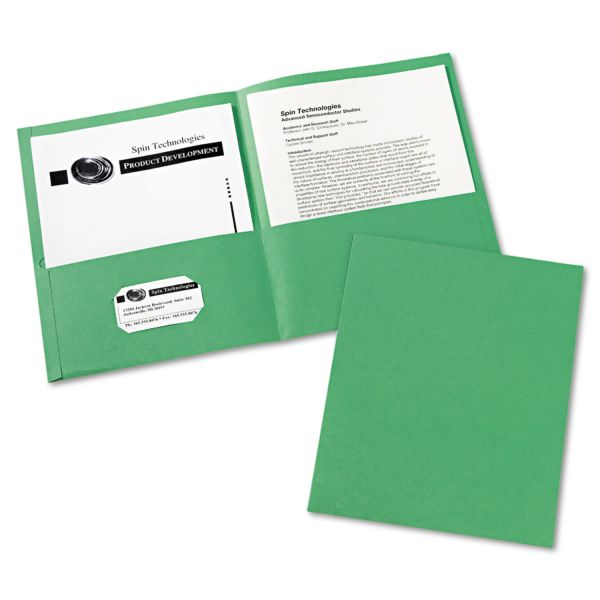 Avery Two-Pocket Folder, 40-Sheet Capacity, Green, 25/Box