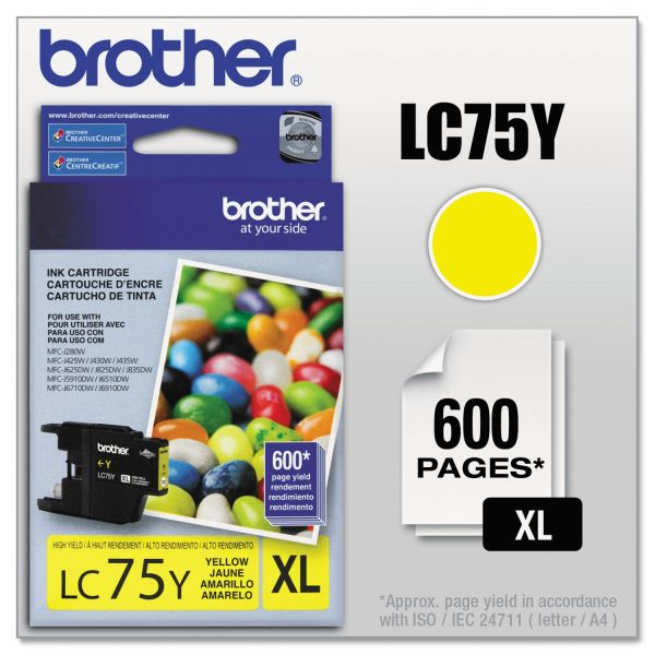 Brother LC75Y Innobella High-Yield Ink, Yellow