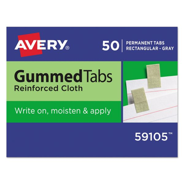 Avery Gummed Index Tabs, 7/16 x 13/16, Gray, 50/Pack