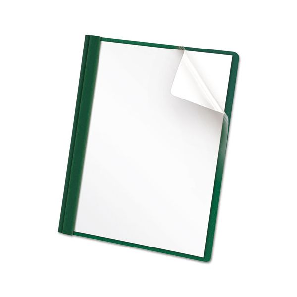 "Oxford Clear Front Report Cover, 3 Fasteners, Letter, 1/2"" Capacity, Green, 25/Box"