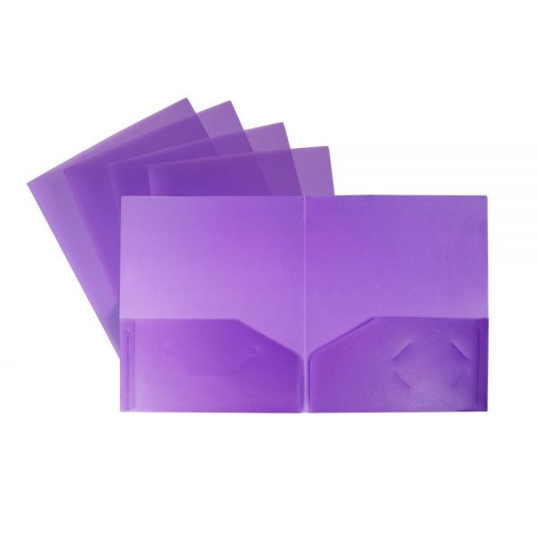 Storex Thicker Poly Purple Two Pocket Folders