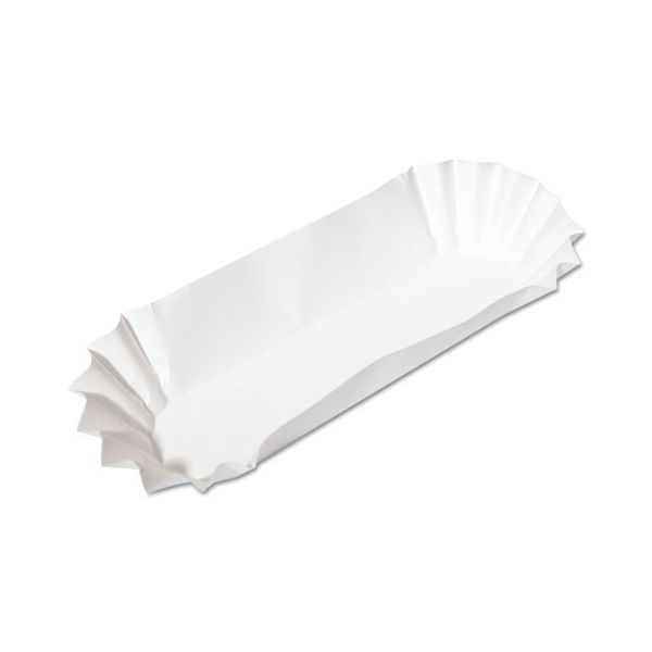 Hoffmaster Fluted Hot Dog Trays, 6w x 2d x 2h, White, 500/Sleeve, 6 Sleeves/Carton