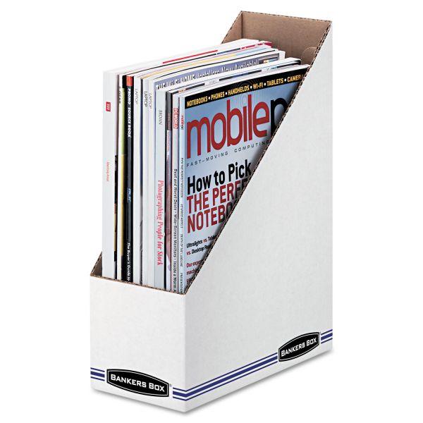 Bankers Box Corrugated Cardboard Magazine File, 4 x 9 1/4 x 11 3/4, White, 12 Per Carton