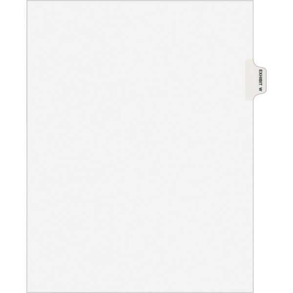 Avery-Style Preprinted Legal Side Tab Divider, Exhibit W, Letter, White, 25/Pack