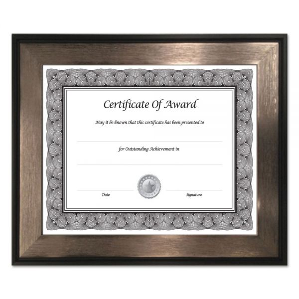 NuDell Director Series Document and Photo Frame, 8 1/2 x 11, Mahogany/Silver Frame