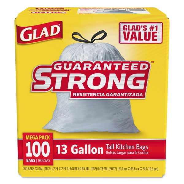 Glad Tall Kitchen Drawstring 13 Gallon Trash Bags