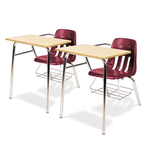 Virco 9400 Classic Series Chair Desks, Wine, Fusion Maple Laminate Top, 2/Ctn