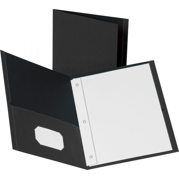 Business Source Black Two Pocket Folders with Fasteners