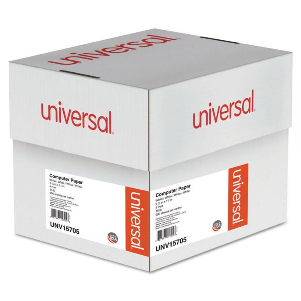 Universal 4-Part Carbonless Paper, 15lb, 9-1/2 x 11, Perforated, White, 900 Sheets