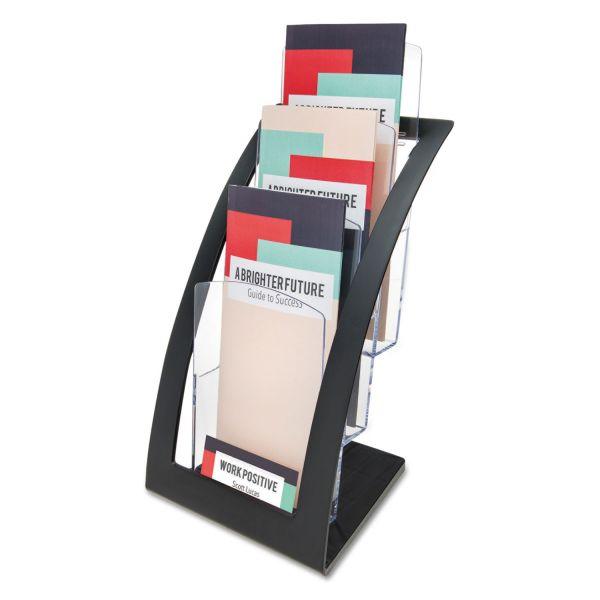 deflecto Three-Tier Leaflet Holder, 6 3/4w x 6 15/16d x 13 5/16h, Black