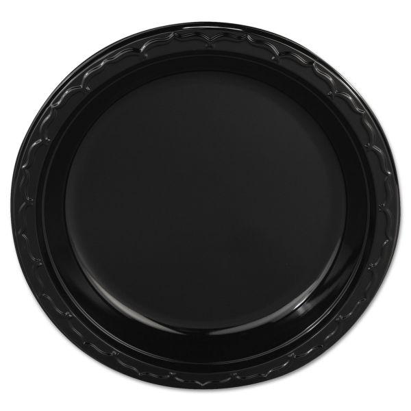 "Genpak Silhouette Plastic Plates, 9"" Black, 400/Carton"