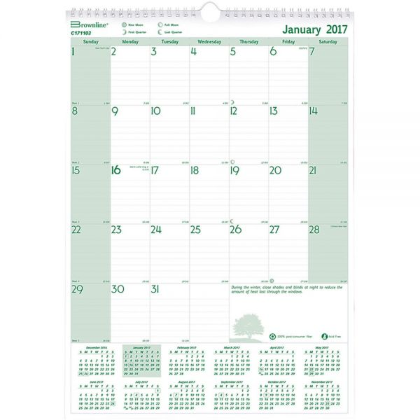 Brownline EcoLogix Monthly Wall Calendar