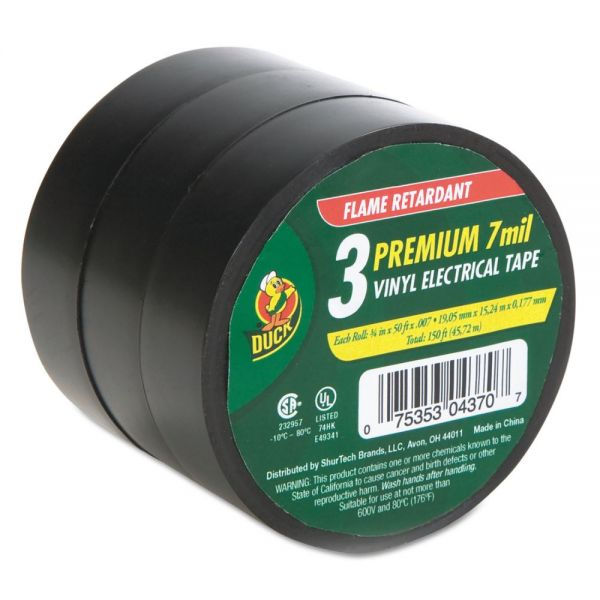 "Duck Pro Electrical Tape, 3/4"" x 50 ft, 1"" Core, Black, 3/Pack"