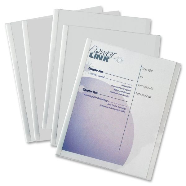 "C-Line Report Covers with Binding Bars, Vinyl, Clear, 1/8"" Capacity, 50/Box"