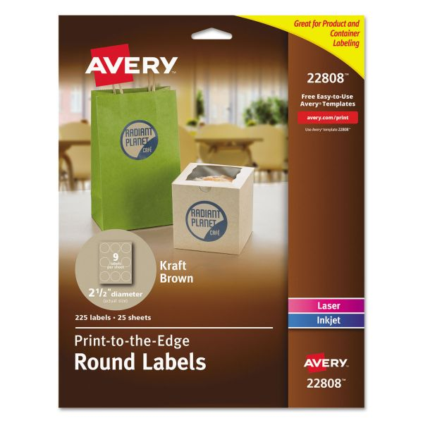 "Avery Round Print-to-the-Edge Labels, 2 1/2"" dia, Kraft Brown, 225/PK"