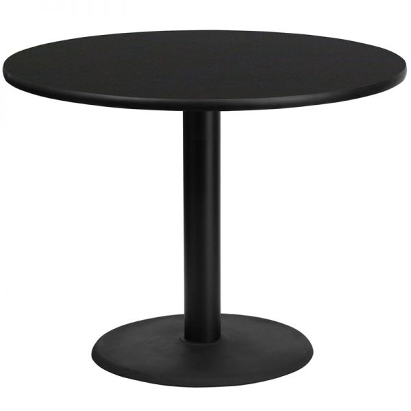 Flash Furniture 42'' Round Black Laminate Table Top with 24'' Round Table Height Base