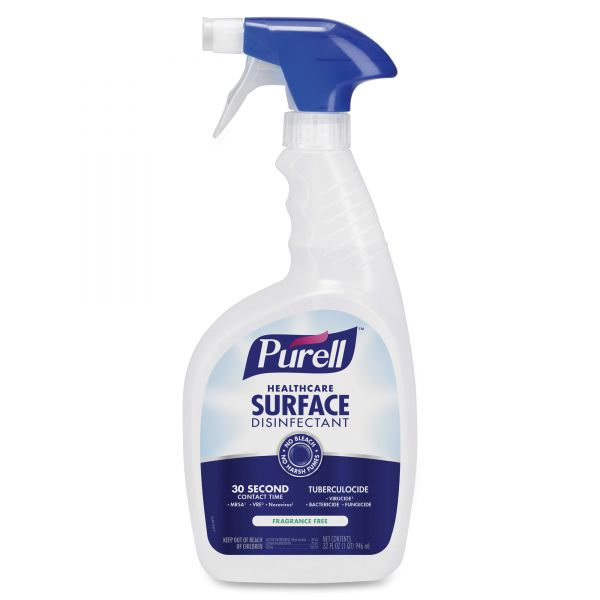 PURELL Healthcare Surface Disinfectant, Fragrance Free, 32 oz Spray Bottle, 12/Carton