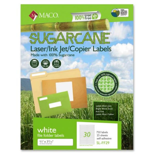 MACO Laser / Ink Jet File / Copier Sugarcane File Folder Labels