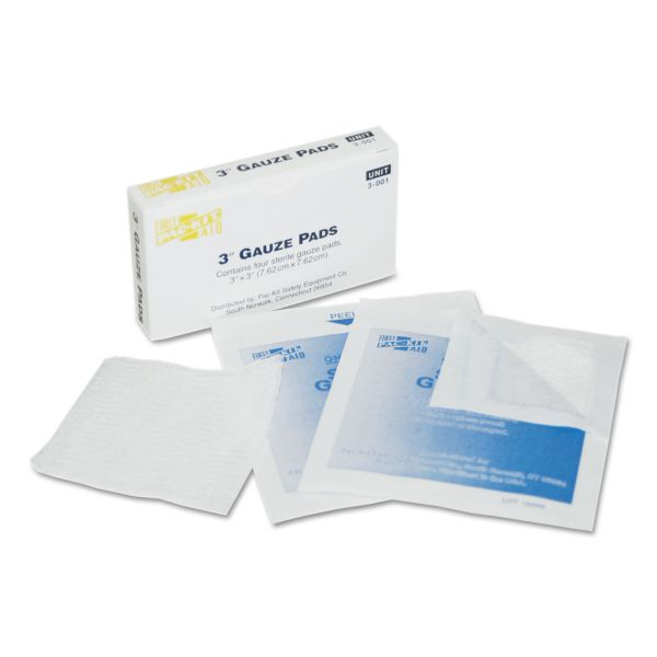 "First Aid Only Gauze Pads, 3"" x 3"", 4/Box"