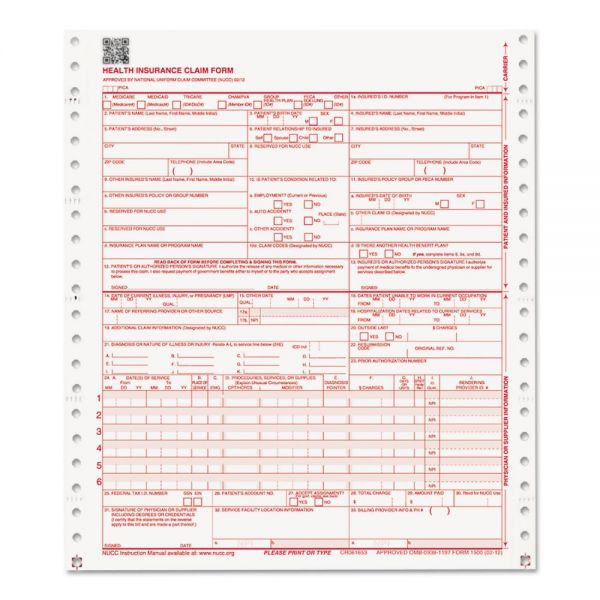 Paris Business Products CMS Forms, 2 Part Continuous White/White, 9 1/2 x 11, 1000 Forms