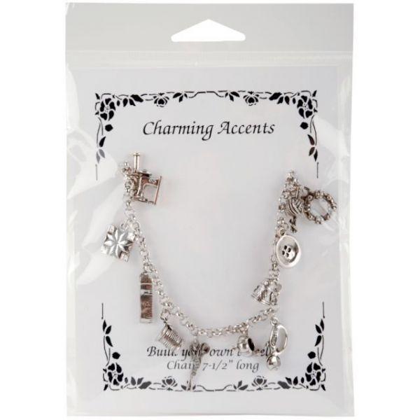 """Charming Accents Charm Bracelet 7.5"""""""