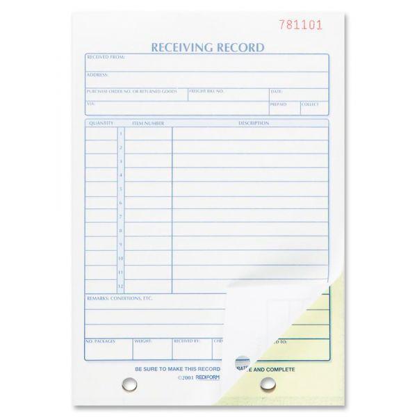 Rediform Receiving Record, 5-1/2 x 7-7/8, Carbonless Duplicate, 50 Sets/Book