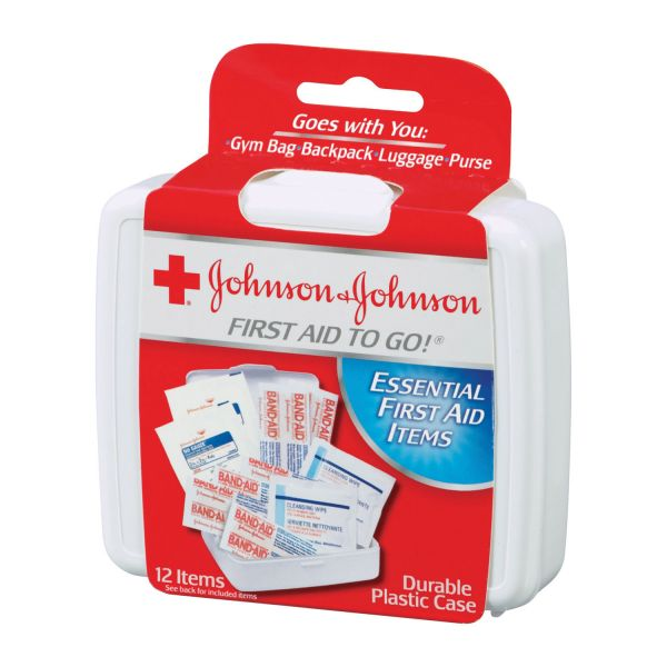 Johnson & Johnson Red Cross Mini First Aid To Go Kit, 12-Pieces, Plastic Case