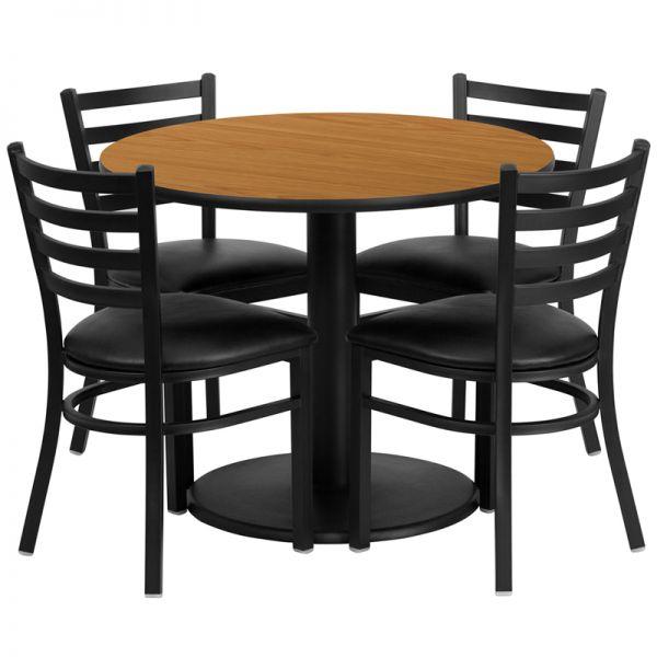Flash Furniture 36'' Round Natural Laminate Table Set with 4 Ladder Back Metal Chairs - Black Vinyl Seat