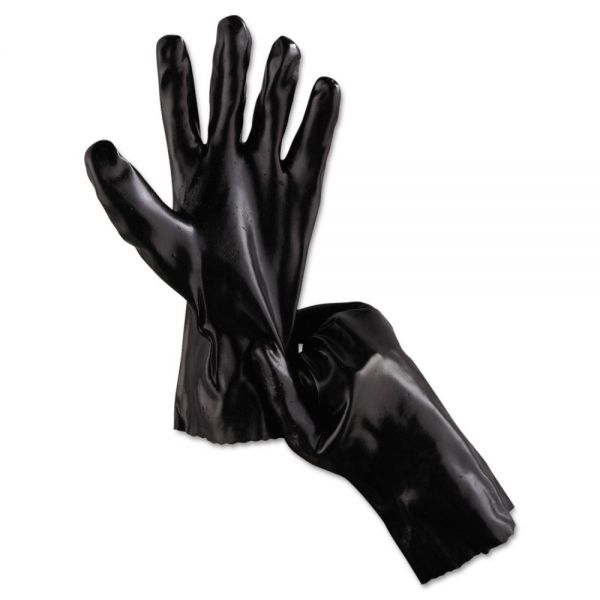 "Memphis Single Dipped PVC Gloves, Smooth, Interlock Lined, 12"" Length, LG, BK, 12 Pairs"