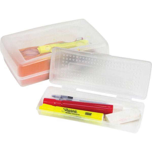 Sparco Clear Plastic Pencil Box