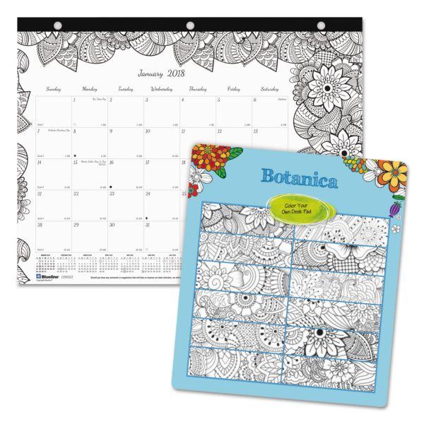 Blueline DoodlePlan Desk Pad Mini Calendar w/Coloring Pages, 11 x 8 1/2, 2018
